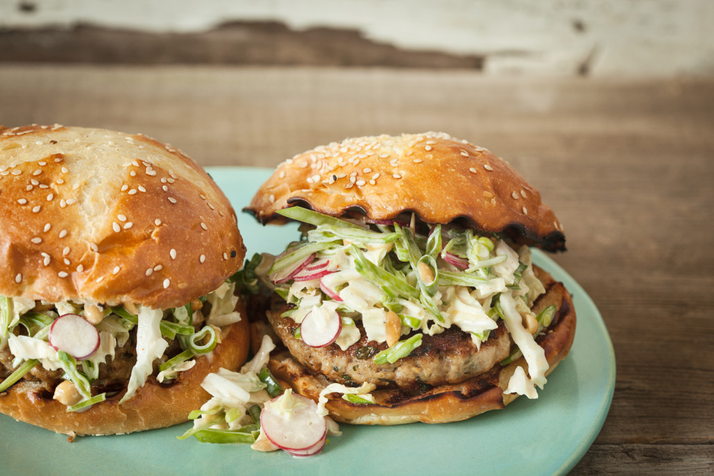 Thai Chicken Burgers with Napa Cabbage Slaw