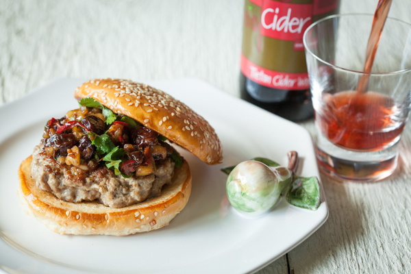 Duck Burgers with Cherry-Walnut Relish