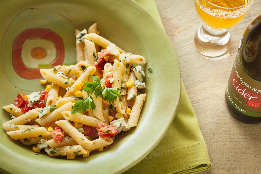 Penne with Salmon, Corn, Blue Cheese & Basil