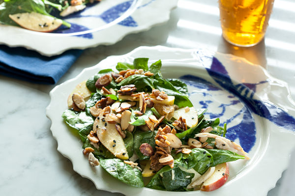 Apple Spinach Salad & Crispy Almonds