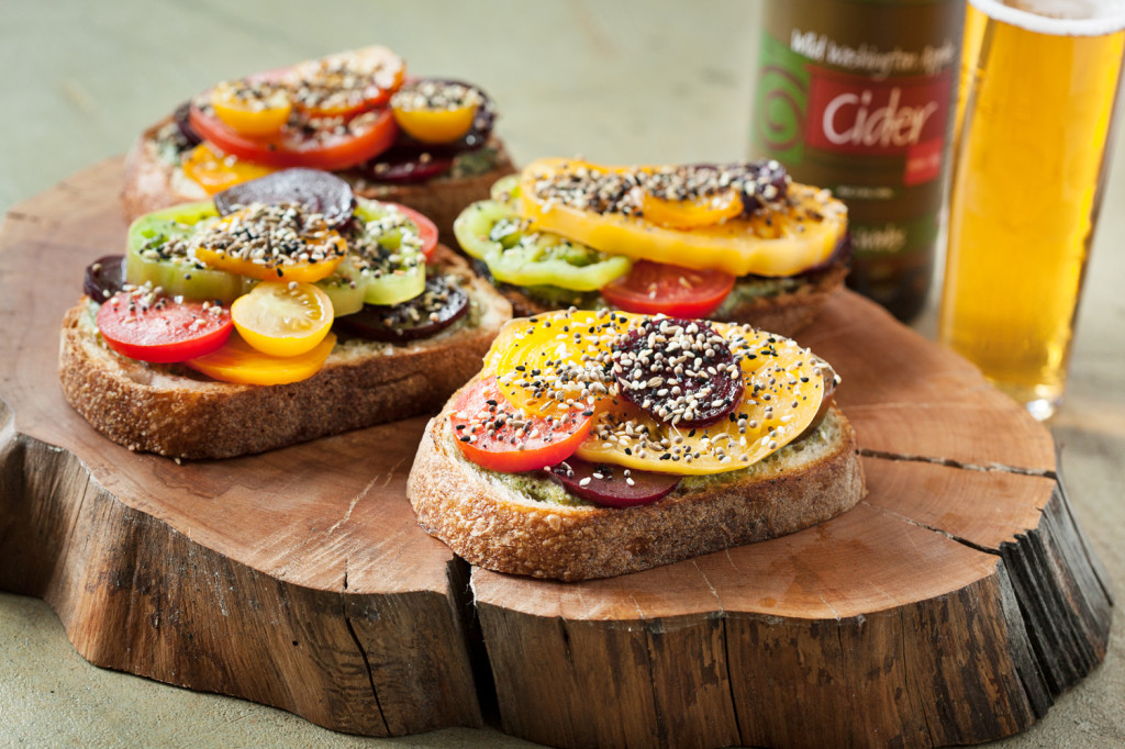 Tomato and Beet Tartines with Tarragon Pesto and Mixed Seeds