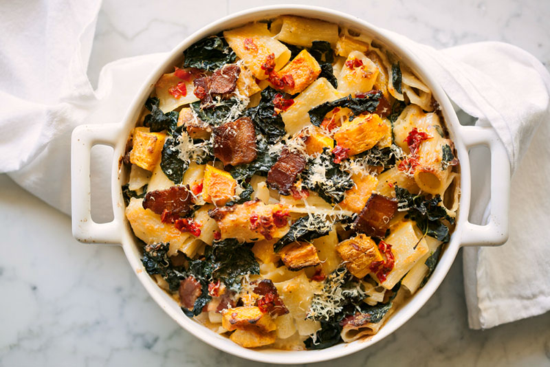 Baked Rigatoni with Squash, Kale and Bacon