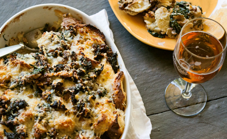 Spinach, Walnut and Gruyère Bread Pudding