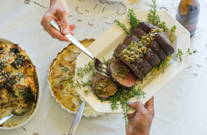 Beef Tenderloin Roast with Pecan-Celery Leaf Pistou