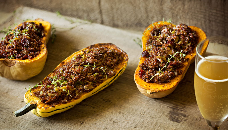 Winter Squash Stuffed with Quinoa, Mushrooms and Cranberries