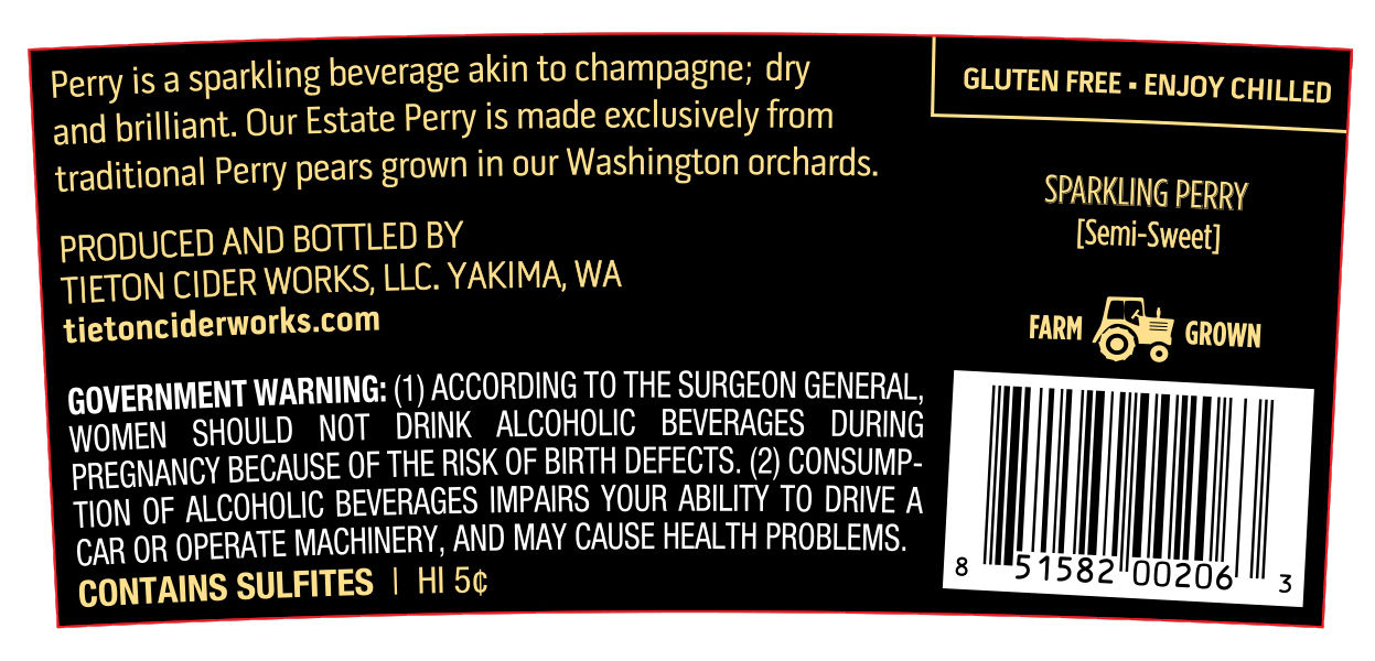 Sparkling Perry back label